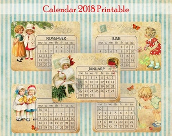 2018 PRINTABLE Calendar 2018 Vintage Caledar 2018 Editable Calendar Wall Calendar Pages Monthly Desk Calendar  2018 Calendar Printable 2018