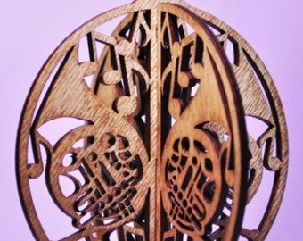 3-D French Horn Wood Ornament