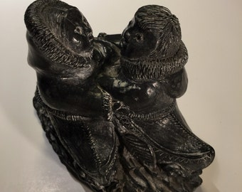 Vintage Carved Soapstone WOLF Sculptures Inuit Eskimo Kayak Hand Made in Canada, A Wolf Original