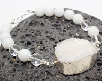 White Druzy Bracelet - Yoga Jewelry, Stacking Bracelet, Druzy Bracelet, White Stone Bracelet, Druzy
