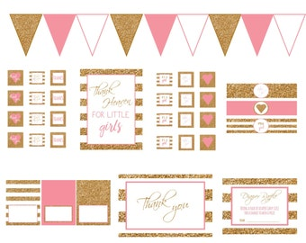 Pink and Gold Baby Girl Shower Decor Printable Bundle