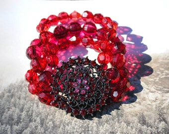 Red Beaded Statement Bracelet