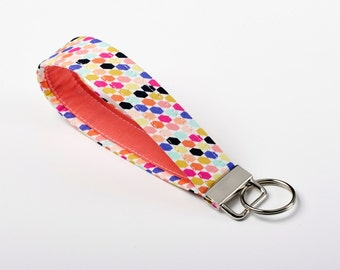 Womens Keychain, Fabric Wristlet, Key Fob - Vibrant Geometric - Coral, Magenta, Purple, Teal, Orange