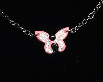 Pink Semicolon Butterfly Charm Necklace