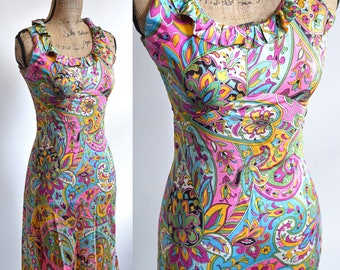 Sleeveless Scoop Neck Dress | 1960s - 70s Pink Abstract Floral & Paisley Print Midi Purple Blue Green. Size XS, Small. Psychedelic Material