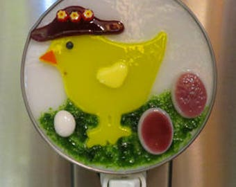 Chick NLs 3 Choices -3 Styles To Choose From -  Little Yellow Chick Glass Nightlights- Holiday Easter Fused Glass Nightlights