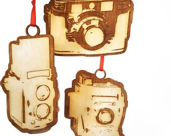 Camera Ornament Set of 3 (Laser Cut Wood)