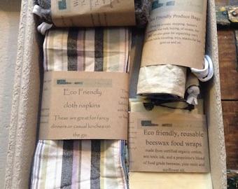 Zero waste kitchen, starter kit, cloth napkins, bamboo straws, beeswax wrap, unpaper towels, washable sponge, sustainable, biodegradable,