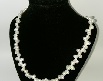White Fresh Water Pearl Necklase with Sterling Silver Lobster Clast