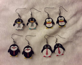 Little handmade wooden penguin earrings and zipper clips, different styles