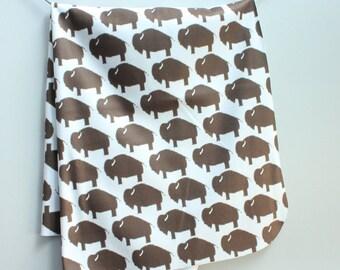 baby blanket swaddle fleece brown buffalo print by PETUNIAS newborn hipster modern baby shower gift photo prop wrap cotton boy nuetral