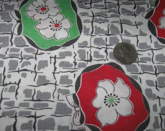Vintage Full Feedsack Bag Flour Feed Sack Lime Green & Red Flowers Farmhouse Pillow Cover
