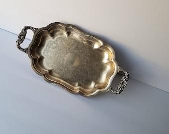 Vintage 1960's Medium Silverplate Server Waiter Tray Lancaster co. Silverplate,Hollowware/Wedding Gift/Jewlery Tray