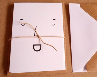 Type Face Notecards - set of 6 A7 size cards with recycled envelopes