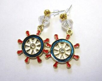 Ships Wheel Nautical Earrings Enamel Red White Blue Dangle Rockabilly Pinup Jewelry