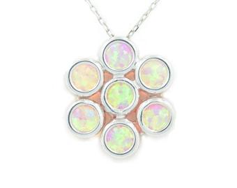 Pink Opal Bezel Pendant .925 Sterling Silver Rhodium Finish