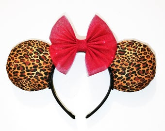 Cheetah Minnie Mouse Ears, Mickey Ears, Animal Kingdom, SeeYaEarSoon