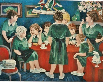 "Art PRINT of my original acrylic painting,""Saturday Night""Handsigned,Restaurant,Waitresses,Women,Figurative  by artist Patty Fleckenstein"