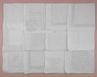 Vintage Hanky Lot,Wedding Hanky Lot,One Dozen White Wedding Vintage Hankies Handkerchiefs (Lot #91)