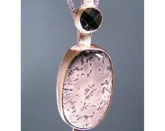 Black and White Plume Agate and Black Spinel Sterling Silver Pendant, One of a Kind, Ready to Ship, Last Minute Gift, Gift for Wife