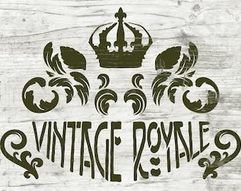 Schablone Vintage Royale   Ornamente   Kronen Stencil   Shabby Chic Deko   Einfache  Dekoration Für