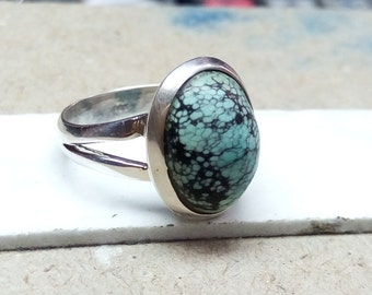 Natural Turquoise ring, sterling silver ring, gemstone ring, 925 silver ring, handmade ring, gift for her, statement ring size 6