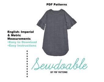 Ruffle Tee Shirt Dress PDF Pattern18/24M-9/10Y
