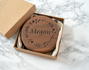 Personalised Walnut Compact Mirror  Wooden pocket Mirror   Maid of honour gift   anniversary gift   Wedding day Gift