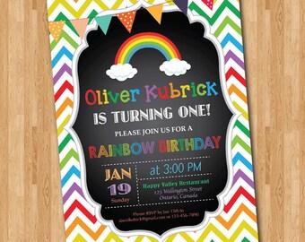 Rainbow Birthday Invitation. Chevron Birthday Party Invite Chalkboard. Boy Girl Birthday. First Birthday or Any Age. Printable digital DIY.