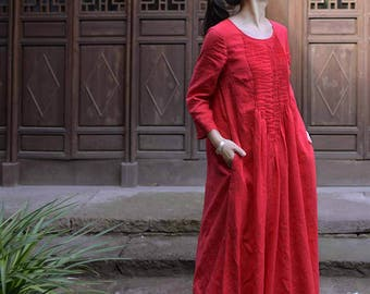 589---Hand Pintucked Red Linen Floor-length Dress, Wedding Dress, Three Quaters Sleeves Maxi Dress, Spring / Summer Dress, Made to Order.