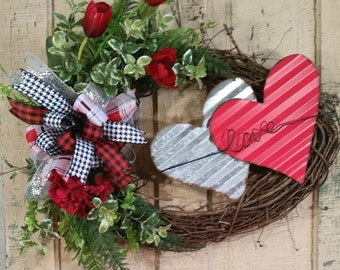 Valentine Wreath-Wreath for Front Door-Grapevine Wreath-Corrugated Tin Hearts