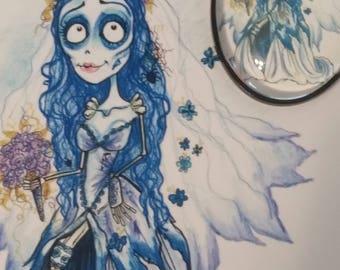 Something Blue Fantasy Face Horror Art Pendant Big Eye Pendant