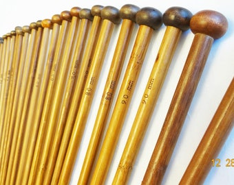 36 Pcs Carbonized Bamboo Knitting Needles Set, Single Pointed , Smooth