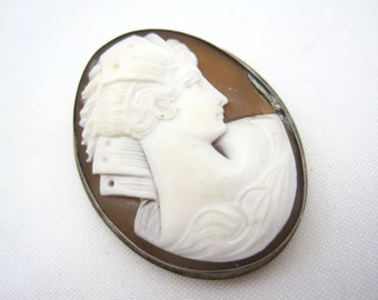 Antique Cameo Brooch - Carved Shell Cameo 1800s - Pendant or Brooch Sterling Silver