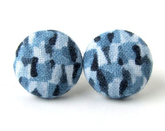 Marine blue stud earrings - fabric covered button earrings - royal blue stud earrings - spring earrings - cobalt dark light blue