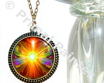 """Abstract Art Necklace, Orange Chakra Jewelry, Reiki Energy """"Light Being"""""""