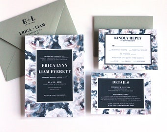 Blue Wedding Invitation Suite - White Magnolia Flower Inspired Pattern Wedding - Custom Printable 5x7 Invitation - Digital Printable