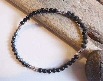 MIXED ethnic bracelet, 4 black stones / onyx - lava, hematite, shiny onyx stone.