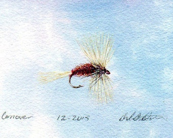Original Watercolor Painting - Fly Fishing Art - Watercolor - Conover Dry Fly - Made in Michigan - Fly Fishing - Michigan Artist-Black Frame