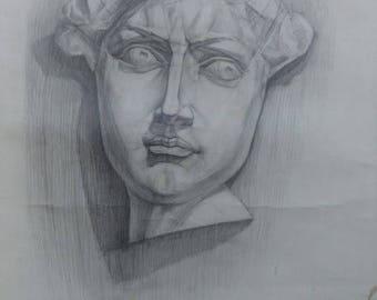 Original  Drawing Academical Anatomy  Vintage Pencil  Dark Tone Pictur Gift Classical Sculpture Head of David