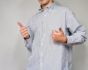 Men's Shirt Vintage Preppy Tommy Hilfiger Shirt 1980's Blue and White Striped Cotton Oxford Button Down Collar Size 15 1/2 - 33