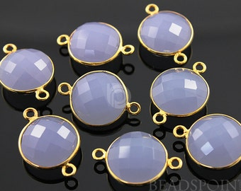 Lavender bezel COIN Shape Gemstone Component, Gold Vermeil ,  12 mm 1 Piece, (BZC7233)