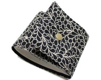 Classic checkbook black and ecru - checkbook left heel, side checkbook, long wallet, women gift