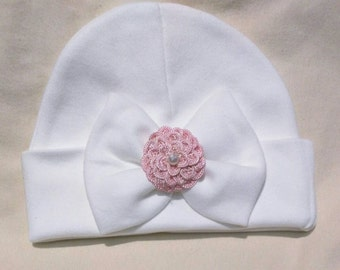 A Best Seller Now Offered in Larger 0-6 Month Hat Baby's 1st Keepsake With Pretty Bow/Flower & Pearl. The Mary. Choice of Flower Color