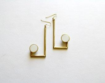 Gold Modern Earrings-Resin Earrings-Contemporary Jewellery-Brass Statement Earrings-Modern Jewellery-Greek Inspired-Geometric Earrings