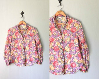 Vintage FLOWER Blouse • 1970s Clothing • Sheer See Thru Floral Lightweight Cotton Button Up 70s Top Shirt Red Purple • Women Small Medium
