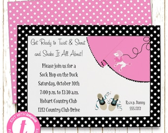 50's Sock Hop Invitation | Adult Birthday | Printable Editable Digital PDF File | Instant Download | Templett | ABI145DIY