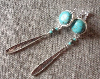 Turquoise, pyrite beads, long charms cabochon earrings