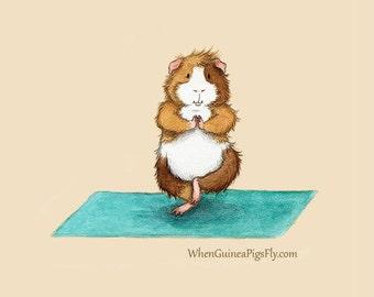 Guinea Pig Yoga Tree Pose - Yoguineas Collection - Cute Guinea Pig Yoga Art Print