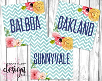 Piphany Clothing Style Name Cards, 5x5 Social Media Graphics Online Facebook Album Covers, Style Name Card Chevron Floral INSTANT DOWNLOAD